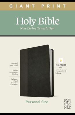 NLT Personal Size Giant Print Bible, Filament Enabled Edition (Red Letter, Leatherlike, Black/Onyx)