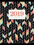Agenda 2019: 19x23cm: Agenda 2019 Settimanale Italiano: Oro, Corallo E Motivo a Zigzag Verde Menta 6231