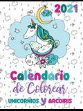2021 Calendario de Colorear unicornios y arcoiris