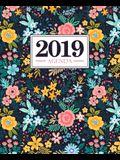 Agenda 2019: 19x23cm: Agenda 2019 settimanale italiano: fiori gialli e blu rosa 6309