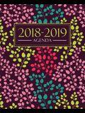 Agenda 2018-2019: 19x23cm agenda 2018-2019 semainier: motif floral tendance, jaune, rose, bleu canard et corail