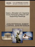 Owen V. Browder U.S. Supreme Court Transcript of Record with Supporting Pleadings