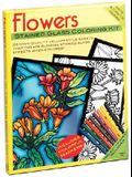 Flowers Stained Glass Coloring Kit [With Colorful Markers and 24 High-Quality Vellum Style Sheets/Stained Glass]