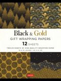 Black & Gold Gift Wrapping Papers: 12 Sheets of High-Quality 18 X 24 Inch Wrapping Paper