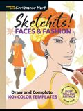 Sketchits! Faces & Fashion: Draw and Complete 100+ Color Templates