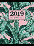 Agenda 2019: 19x23cm: Agenda 2019 settimanale italiano: foglie tropicali rosa e verdi 5036