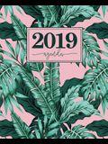 Agenda 2019: 19x23cm: Agenda 2019 Semainier: Feuilles Tropicales Roses Et Vertes 6132