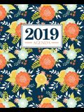 Agenda 2019: 19x23cm: Agenda 2019 settimanale italiano: fiori arancioni e gialli su blu scuro 4978