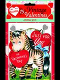 15 Vintage Valentines: Fun with Animals: 15 Die-Cut Cards in Bag with Decorated Envelopes