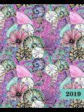 Agenda 2019 Semainier: 19x23cm: Agenda 2019 Semainier: Coquillages Roses Et Verts Violets 6149
