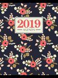 Agenda 2019: 19x23cm: Agenda 2019 semainier: Fleurs roses sur bleu 5852
