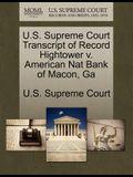 U.S. Supreme Court Transcript of Record Hightower V. American Nat Bank of Macon, Ga