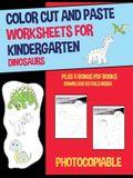 Color Cut and Paste Worksheets for Kindergarten (Dinosaurs)