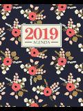 Agenda 2019: 19x23cm: Agenda 2019 Settimanale Italiano: Fiori Rosa Su Blu Scuro 5746