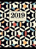 Wochenplaner 2019: 19 X 23 CM: Rotes Blaues Orange Wei