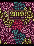 Agenda 2019: 19x23cm: Agenda 2019 Settimanale Italiano: Floreale in Giallo, Rosa, Verde Acqua E Corallo 7269