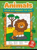 Animals Color By Number For Kids: 50 Animals Including Farm Animals, Jungle Animals, Woodland Animals and Sea Animals (Jumbo Coloring Activity Book fo