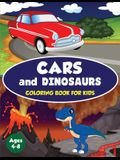 Cars and Dinosaurs Coloring Book for Kids Ages 4-8: 80 Fun and Exciting Space and Car Based Coloring Designs for Boys Ages 4-8 (Childrens Coloring Boo