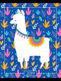 Agenda 2019 Semainier: 19x23cm: Agenda 2019 Semainier: Lama Mignon Sur Bleu Vif Avec Rose 6071