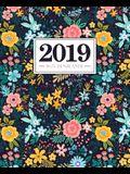 Wochenplaner 2019: 19 X 23 CM: Rosa, Gelbe Und Blaue Blumen 6514