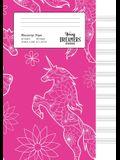 Manuscript Paper: Floral Unicorn A4 Blank Sheet Music Notebook