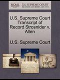 U.S. Supreme Court Transcript of Record Strosnider V. Allen