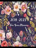 2019-2023 Five Year Planner- Flower: 60 Months Planner and Calendar, Monthly Calendar Planner, Agenda Planner and Schedule Organizer, Journal Planner