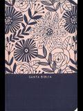 Rvr60 Santa Biblia, Letra Grande, Tamaño Compacto, Tapa Dura/Tela, Azul Floral, Edición Letra Roja