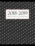 Agenda scolaire 2018-2019: 19x23cm: Agenda 2018 2019 semainier: Motif noir, blanc et corail