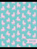 Agenda 2019 Semainier: 19x23cm: Agenda 2019 Semainier: Lamas Rose Sur Bleu 5838