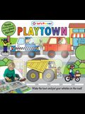 Puzzle Play Set: Playtown: Three Chunky Books and a Giant Jigsaw Puzzle! [With Three Vehicle-Shaped Books and Jigsaw Puzzle Playmat and Giant 9-Piece