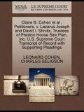 Claire B. Cohen et al., Petitioners, V. Lazarus Joseph and David I. Shivitz, Trustees of Preston House Sire Plan, Inc. U.S. Supreme Court Transcript o