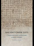 Ancient Greek Lists: Catalogue and Inventory Across Genres