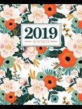 Agenda 2019: 19x23cm: Agenda 2019 settimanale italiano: fiori rosa e arancioni su bianco 5029