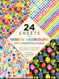 24 Sheets of Rainbow Watercolors Gift Wrapping Paper: High-Quality 18 X 24 (45 X 61 CM) Wrapping Paper