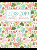 2018-2019 Weekly Planner: Portable Format 7.5x9.25 (19x23cm): August 1, 2018 to December 31, 2019: 17 Months: Pink Flamingos & Teal 7801