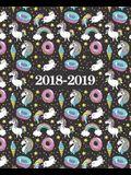 2018-2019 Studentenplaner - Schülerkalender - Studentenkalender: August 2018 - Juli 2019: 19 x 23 cm: Einhorn und Donuts