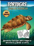 Tortugas Libro De Colorear: Un libro de colorear para adultos para amantes de las tortugas con escenas de mar y playa con mandalas, flores y diver