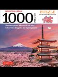 Japan's Mount Fuji in Springtime- 1000 Piece Jigsaw Puzzle: Snowcapped Mount Fuji and Chureito Pagoda in Springtime (Finished Size 24 in X 18 In)