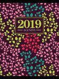 Agenda 2019: 19x23cm: Agenda 2019 semainier: Motif floral tendance, jaune, rose, bleu canard et corail 5678