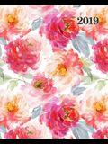 Agenda 2019 Semainier: 19x23cm: Agenda 2019 Semainier: Fleurs Orange Et Rouges Sur Blanc 6040