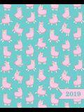 Wochenplaner 2019: Terminplaner & Wochenkalender: 19 X 23 CM: Rosa Lamas Auf Blau 6361