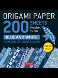 Origami Paper 200 Sheets Blue and White Patterns 6 (15 CM): High-Quality Double Sided Origami Sheets Printed with 12 Different Designs (Instructions