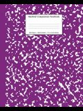 Marbled Composition Notebook: Purple Marble Wide Ruled Paper Subject Book