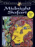 Creative Haven Midnight Safari Coloring Book: Wild Animal Designs on a Dramatic Black Background