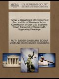 Turner V. Department of Employment SEC. and Bd. of Review of Indus. Commission of Utah U.S. Supreme Court Transcript of Record with Supporting Pleadin