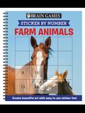 Brain Games - Sticker by Number: Farm Animals (Easy - Square Stickers): Create Beautiful Art with Easy to Use Sticker Fun!