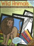 Wild Animals Stained Glass Coloring Kit [With Vellum Style Sheets & Colorful Markers]