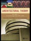 Architectural Theory: Volume II - An Anthology from 1871 to 2005