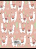 Notebook: Cute Llama on Pink Cover and Dot Graph Line Sketch Pages, Extra Large (8.5 X 11) Inches, 110 Pages, White Paper, Sketc